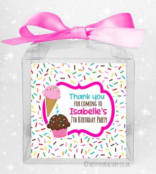 Kids Party Personalised Clear Sweet Treat Boxes Ice Cream Sprinkles x5
