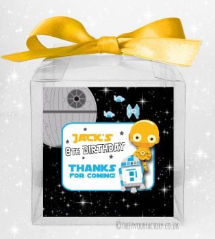 Kids Party Personalised Clear Sweet Treat Boxes Star Wars C3PO x5
