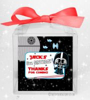 Kids Party Personalised Clear Sweet Treat Boxes Star Wars Darth x1