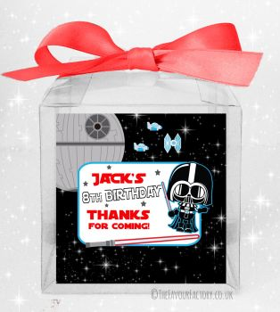 Kids Party Personalised Clear Sweet Treat Boxes Star Wars Darth x5