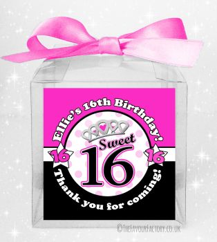 Kids Party Personalised Clear Sweet Treat Boxes Girls Sweet Sixteen x5