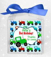 Kids Party Personalised Clear Sweet Treat Boxes Tractor x5