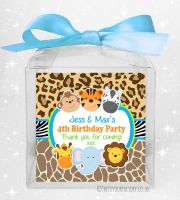 Sweet Boxes Kids Party Personalised Wild Animals Prints x1