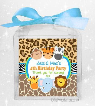 Kids Party Personalised Clear Sweet Treat Boxes Wild Animals Prints x5