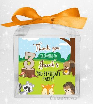 Kids Party Personalised Clear Sweet Treat Boxes Woodland Animals x5