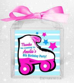 Kids Party Personalised Clear Sweet Treat Boxes Roller Skating Girls x5