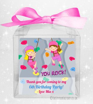 Kids Party Personalised Clear Sweet Treat Boxes Rock Wall Climbing Girls x5