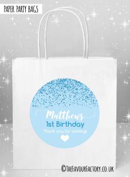 Kids Party Bags Blue Glitter Confetti x1