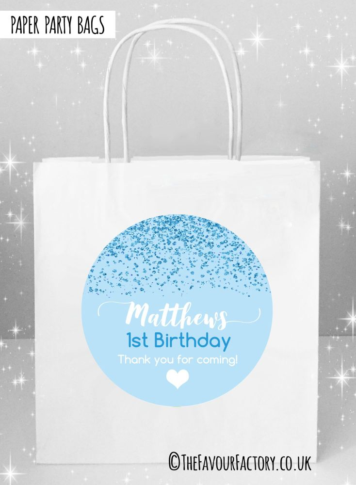 Blue Glitter Confetti Kids Party Bags x1