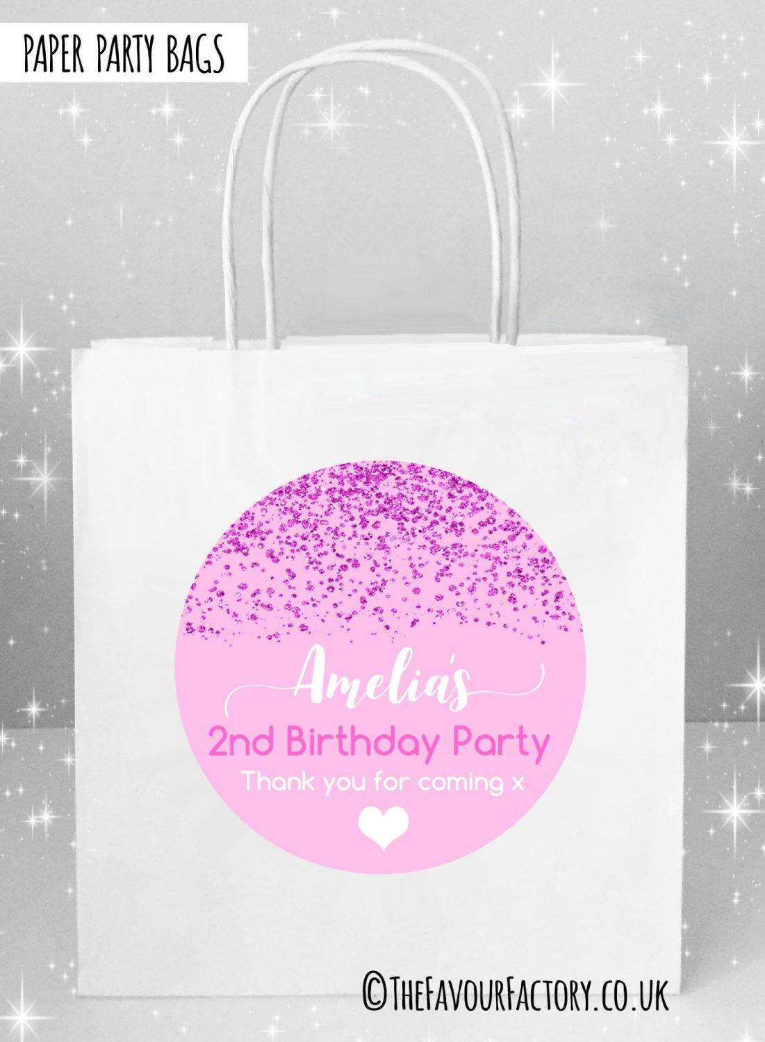 Kids Party Bags Pink Glitter Confetti x5