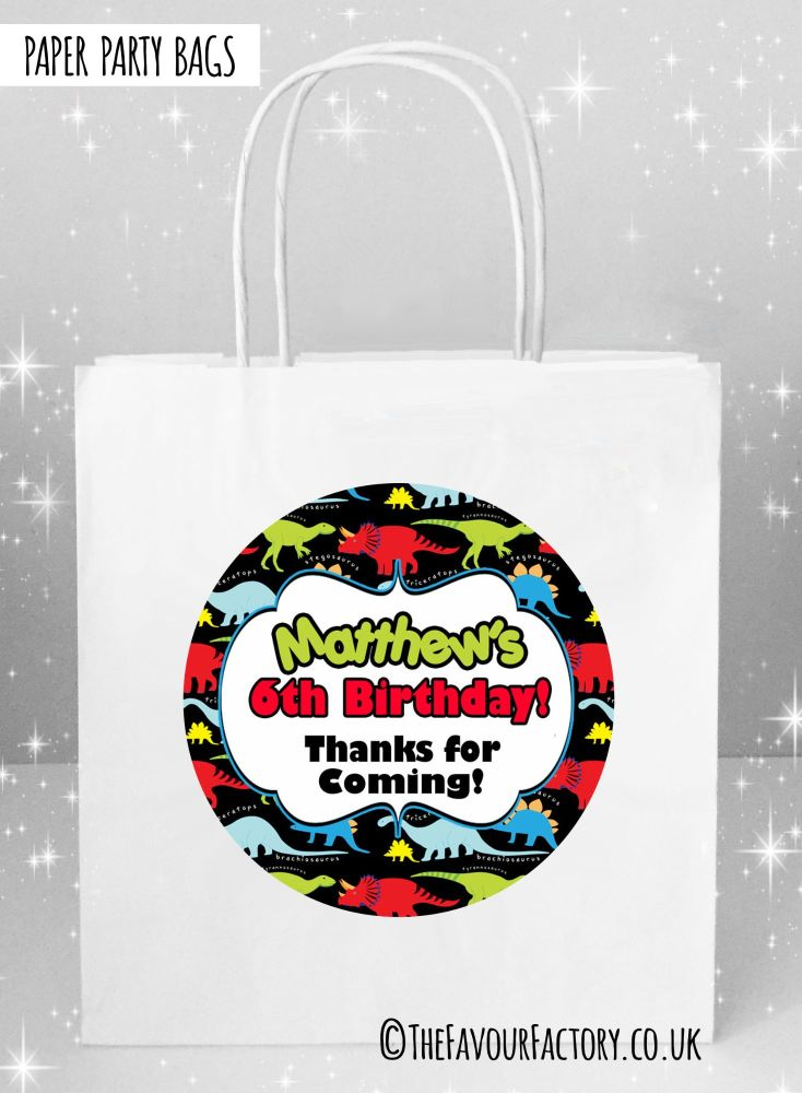 Kids Party Bags Bright Dinosaurs x1