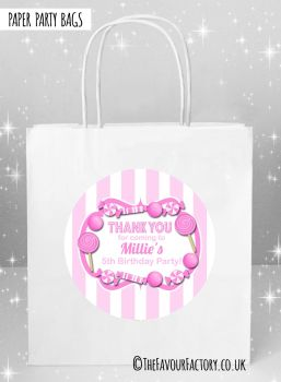 Kids Party Bags Pink Stripes Candy Sweets x5