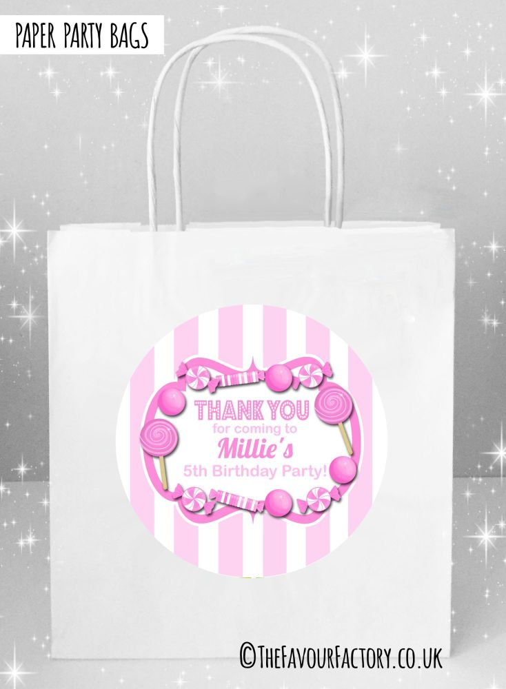 Kids Party Bags Pink Stripes Candy Sweets x1
