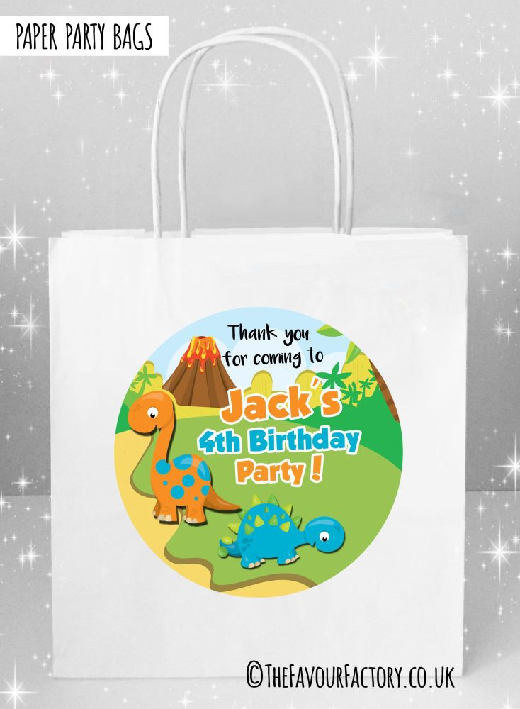 Kids Party Bags Two Dinosaurs x1