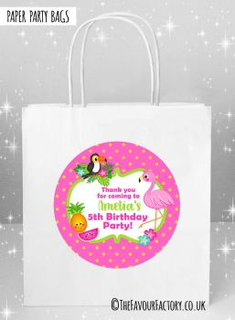 Kids Party Bags Flamingo Tropical x5
