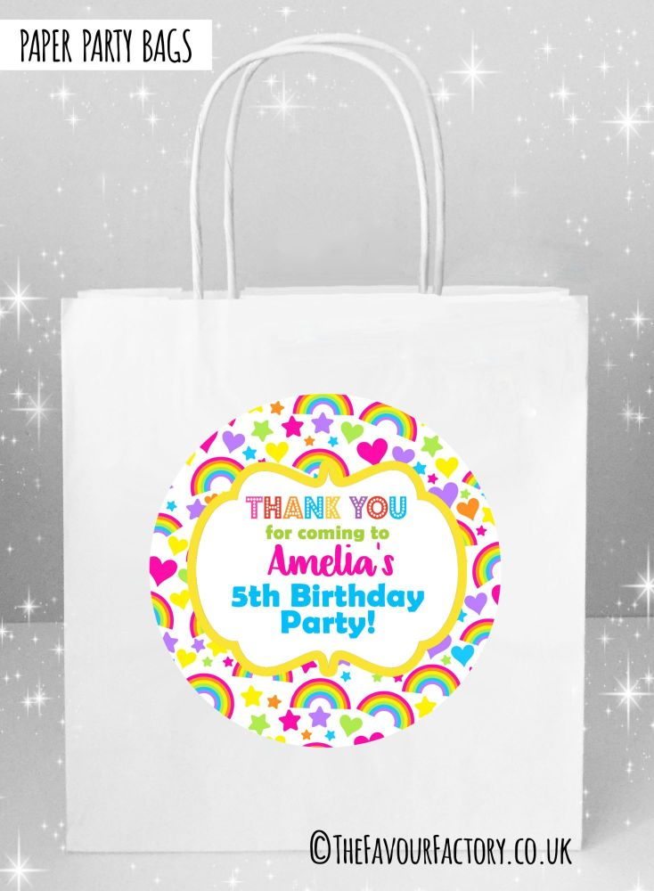 Kids Party Bags Hearts and Rainbows x1
