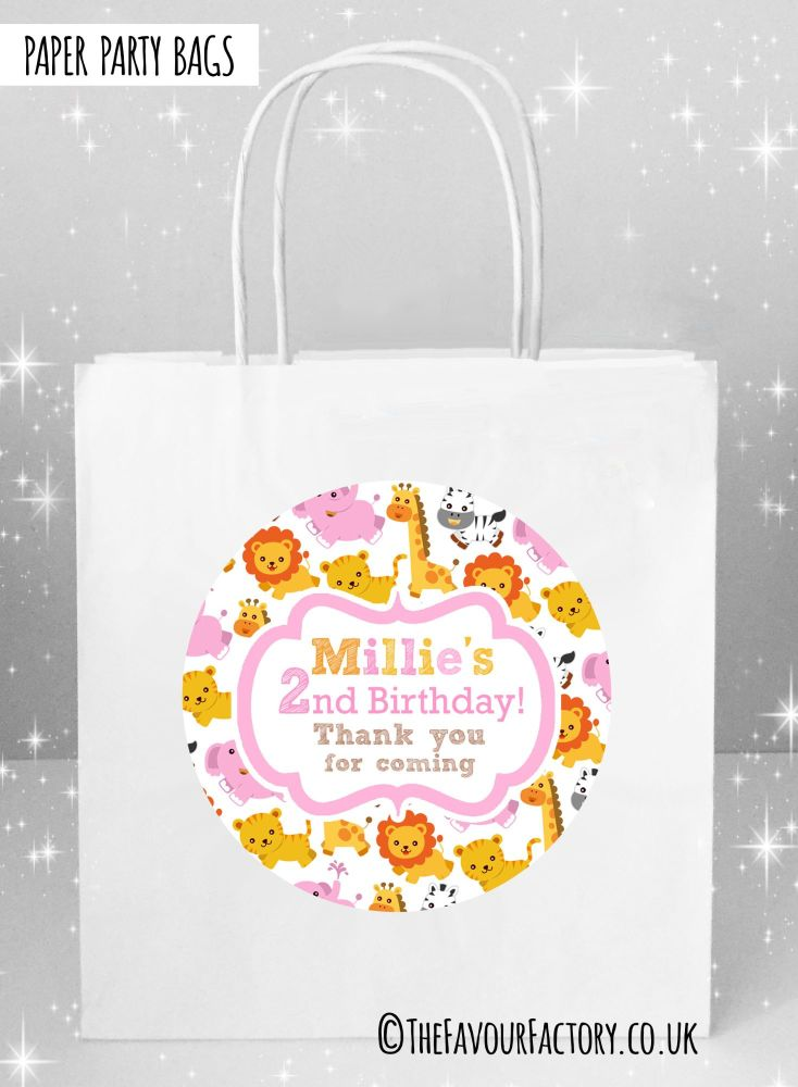 Kids Party Bags Jungle Animals Girls x1