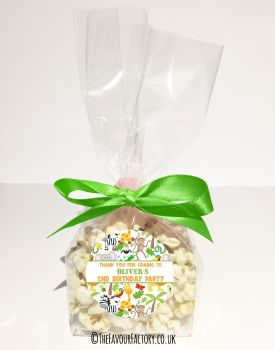 Kids Party Popcorn Treat Bags Kits Animal Madness x12