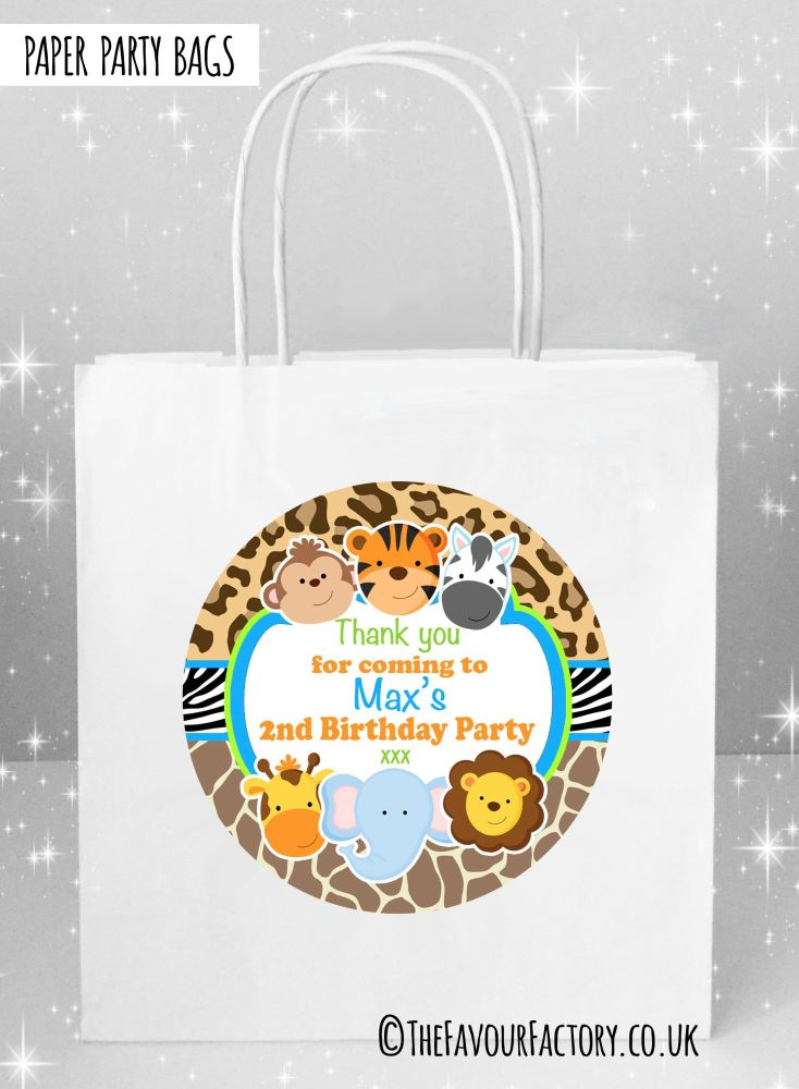 Kids Party Bags Wild Animals Prints x1