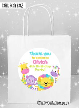 Kids Party Bags Pastel Rainbow Animals x5