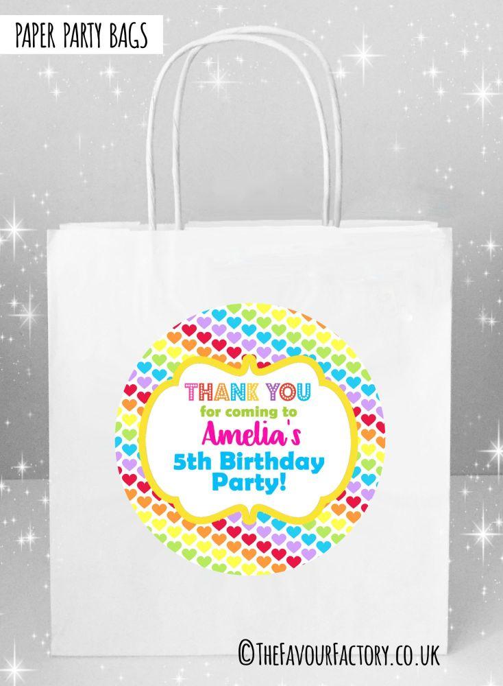 Kids Party Bags Rainbow Polka Dot Hearts x1
