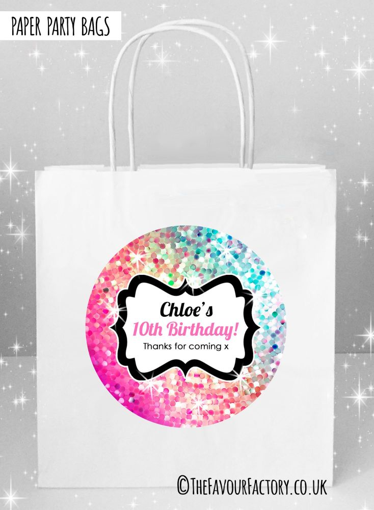 Kids Party Bags Sparkles Pink to Aqua x1