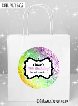 Kids Party Bags Sparkles Yellow to Purple x5