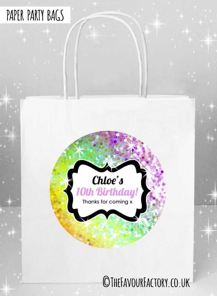 Kids Party Bags Sparkles Yellow to Purple x1