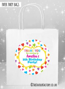 Kids Party Bags Whimsical Rainbow Hearts x5