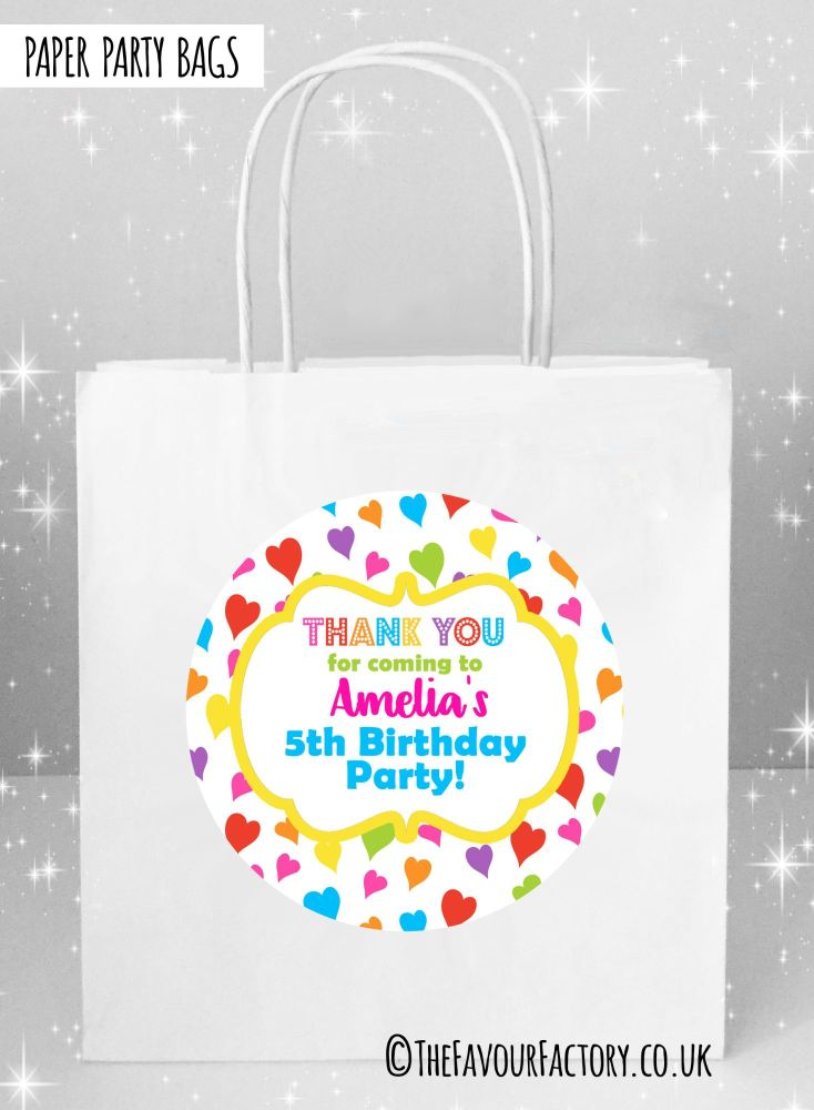 Kids Party Bags Whimsical Rainbow Hearts x1