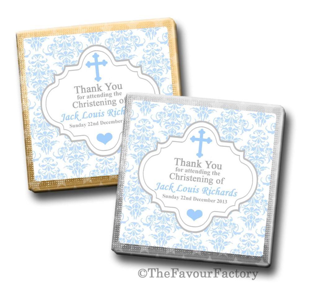 Personalised Christening Chocolates Favours Blue Damask Cross