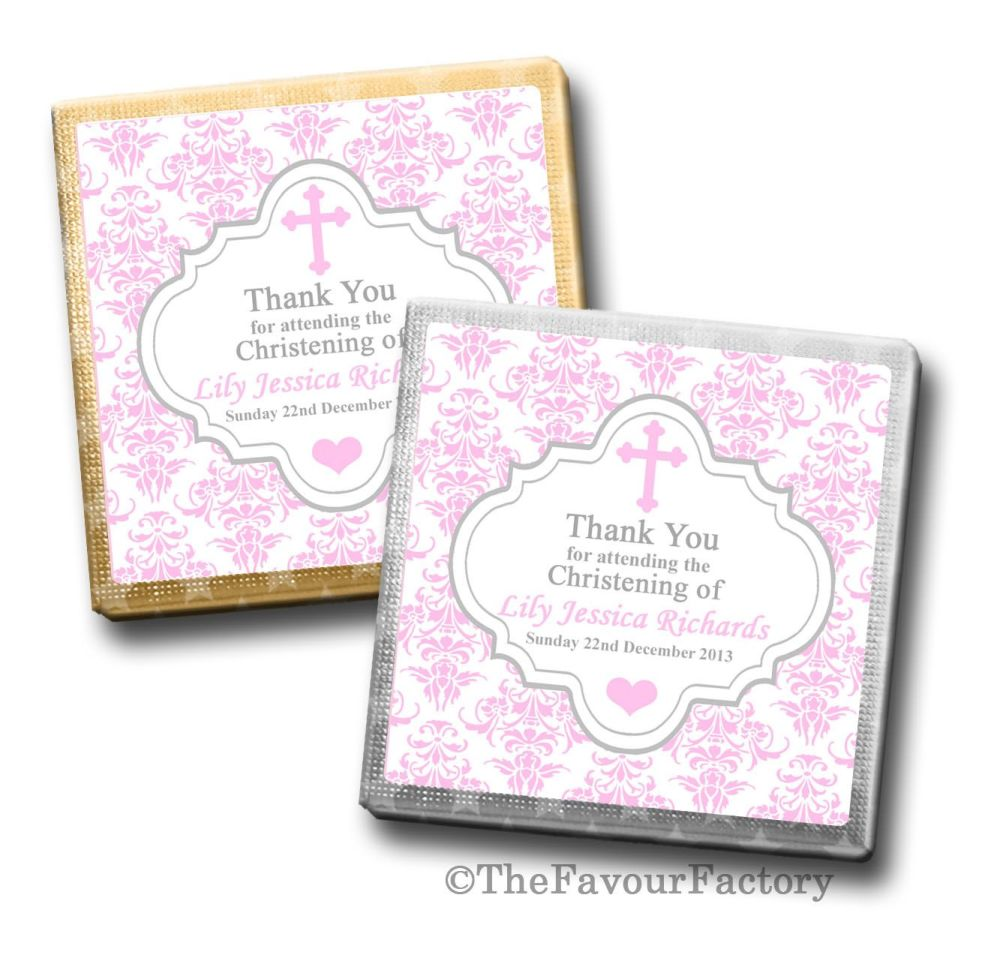 Personalised Christening Chocolates Favours Damask Cross Pink