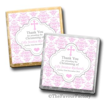 Christening Chocolates Favours Damask Cross Pink x10