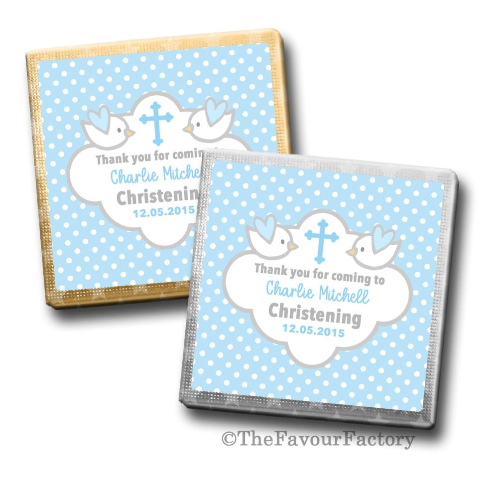 Christening Chocolates Squares Blue Doves x10