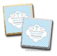 Personalised Christening Chocolates Blue Doves x10
