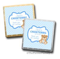 Christening Chocolates Favours Teddy Bear Blue x10