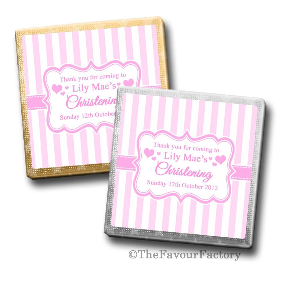 Christening Chocolates Squares Pink Stripes x10