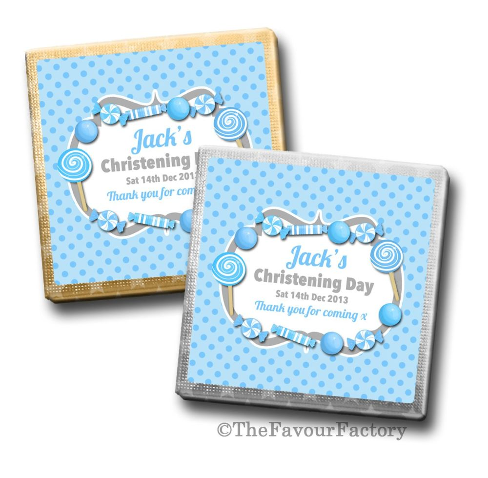 Christening Chocolates Squares Blue Sweets x10