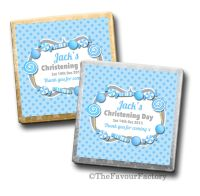 Personalised Christening Chocolates Blue Sweets x10