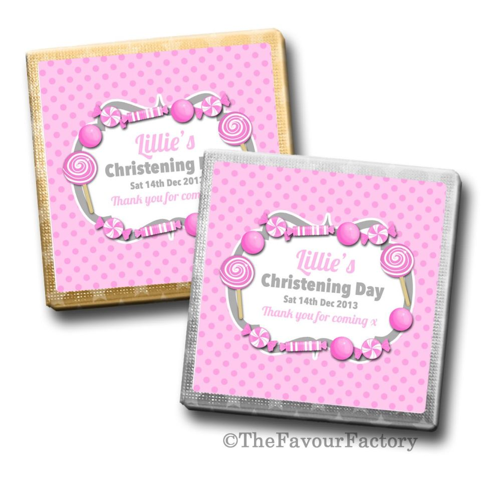 Christening Chocolates Squares Pink Sweets x10