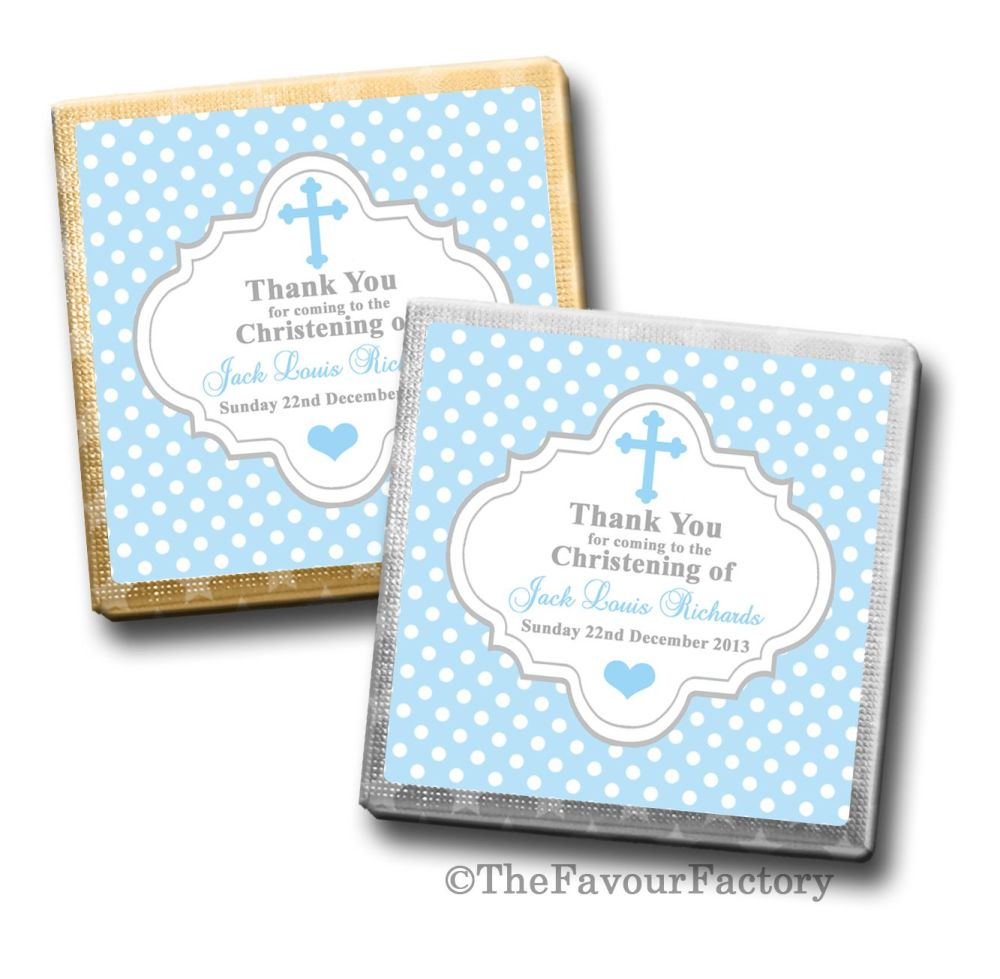 Personalised Christening Chocolates Favours Polka Dots Cross Blue