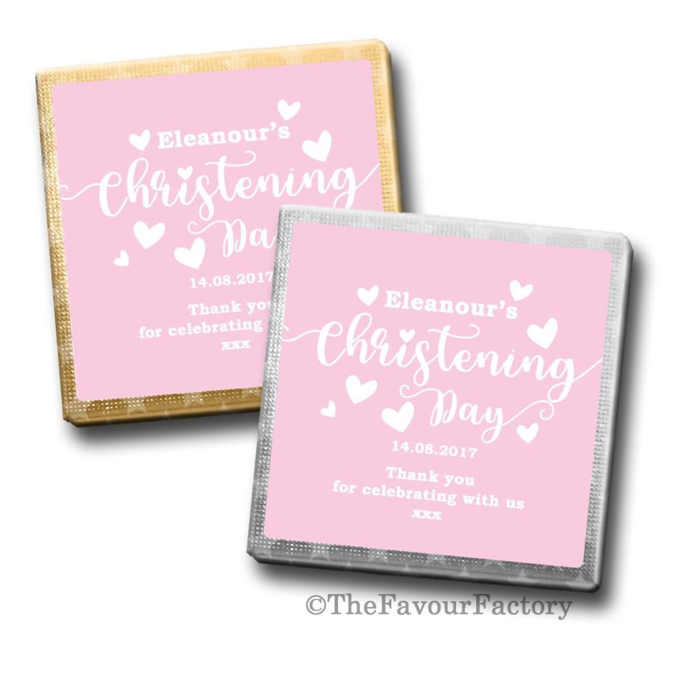 Christening Chocolates Squares Pink Love Hearts x10