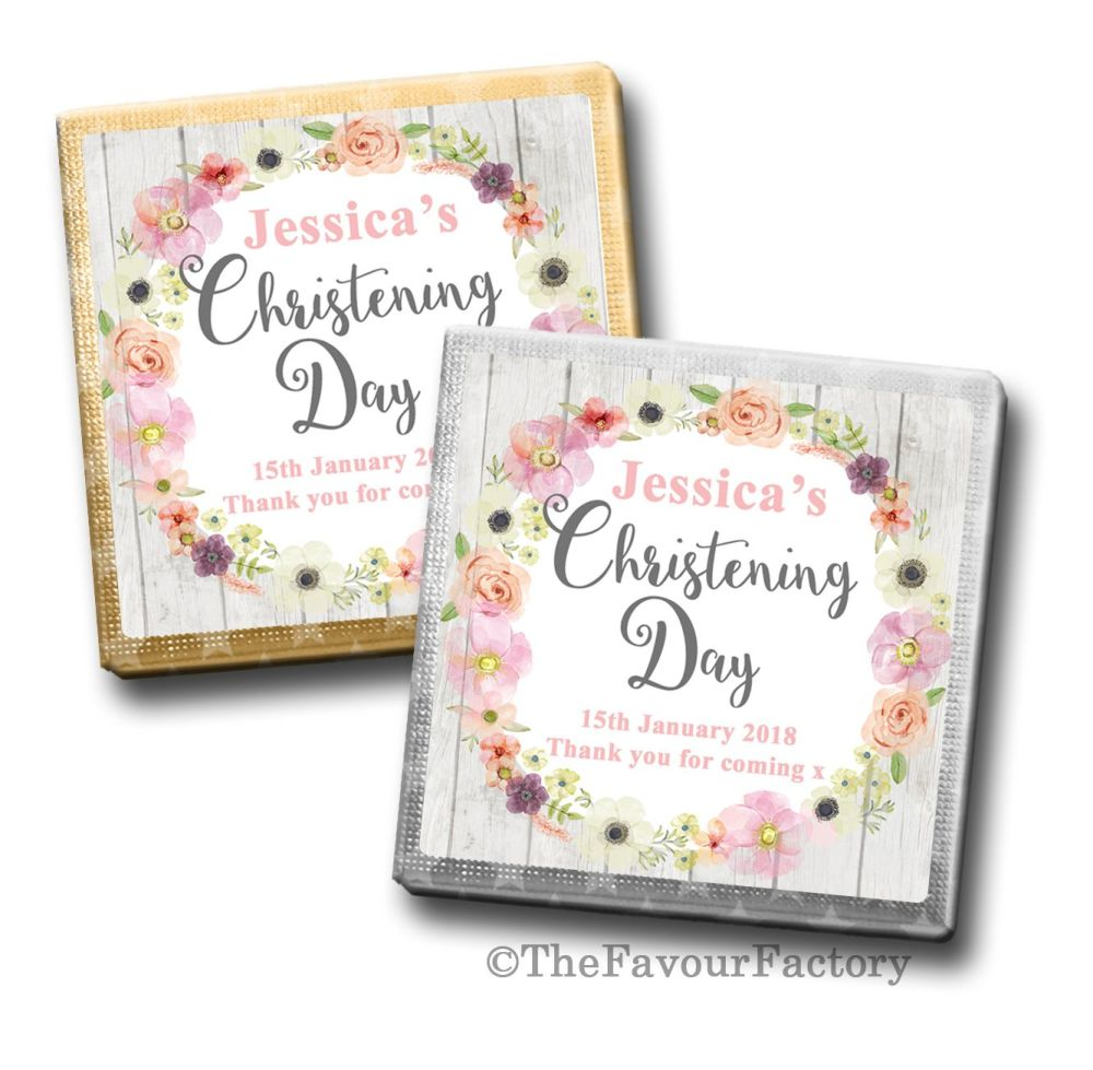 Christening Chocolates Squares Blush Watercolour Flowers x10