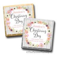 Personalised Christening Chocolates Blush Flowers x10