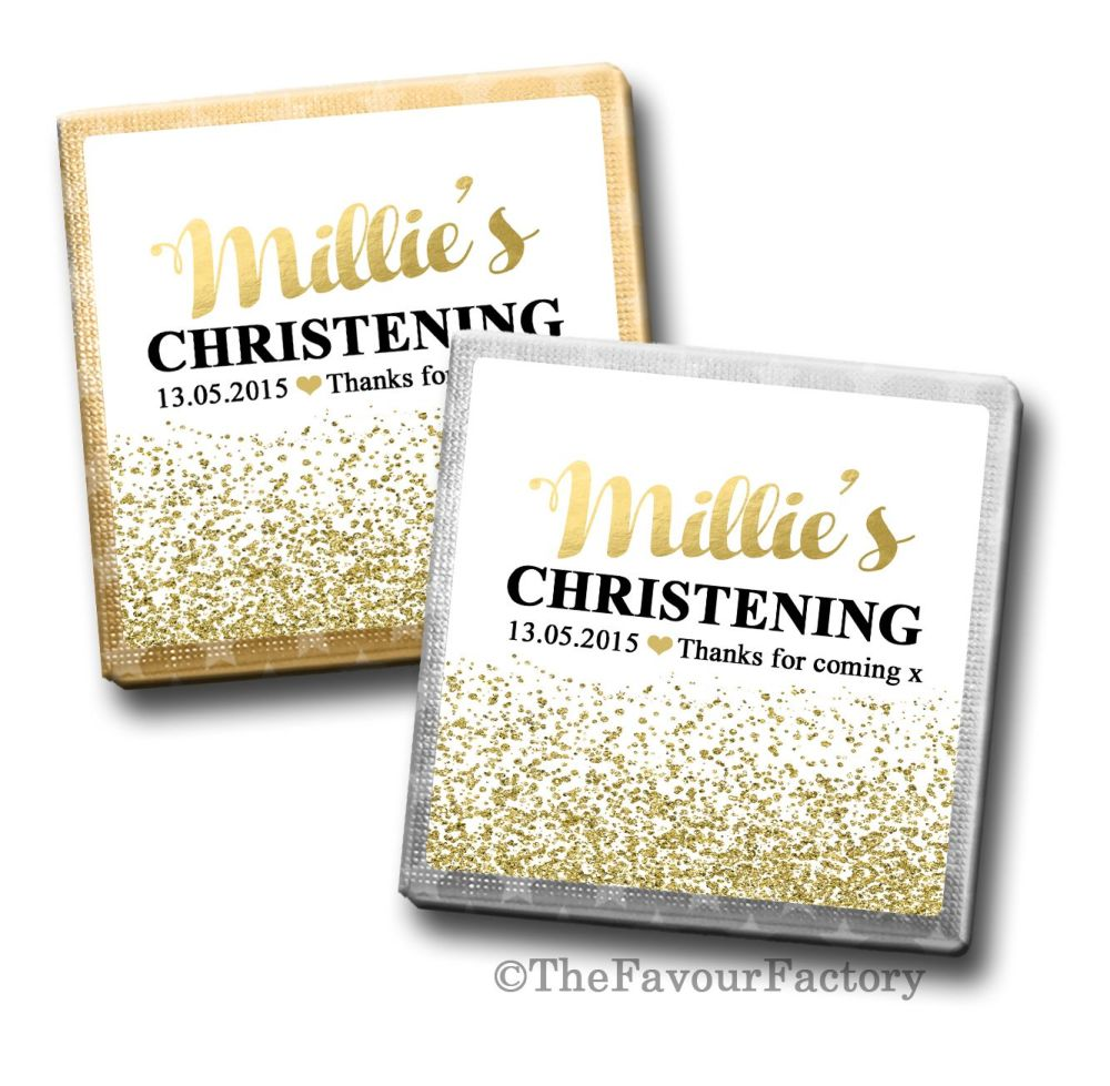 Christening Chocolates Squares Gold Glitter Confetti x10