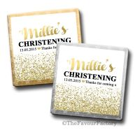 Personalised Christening Chocolates Gold Glitter Confetti x10