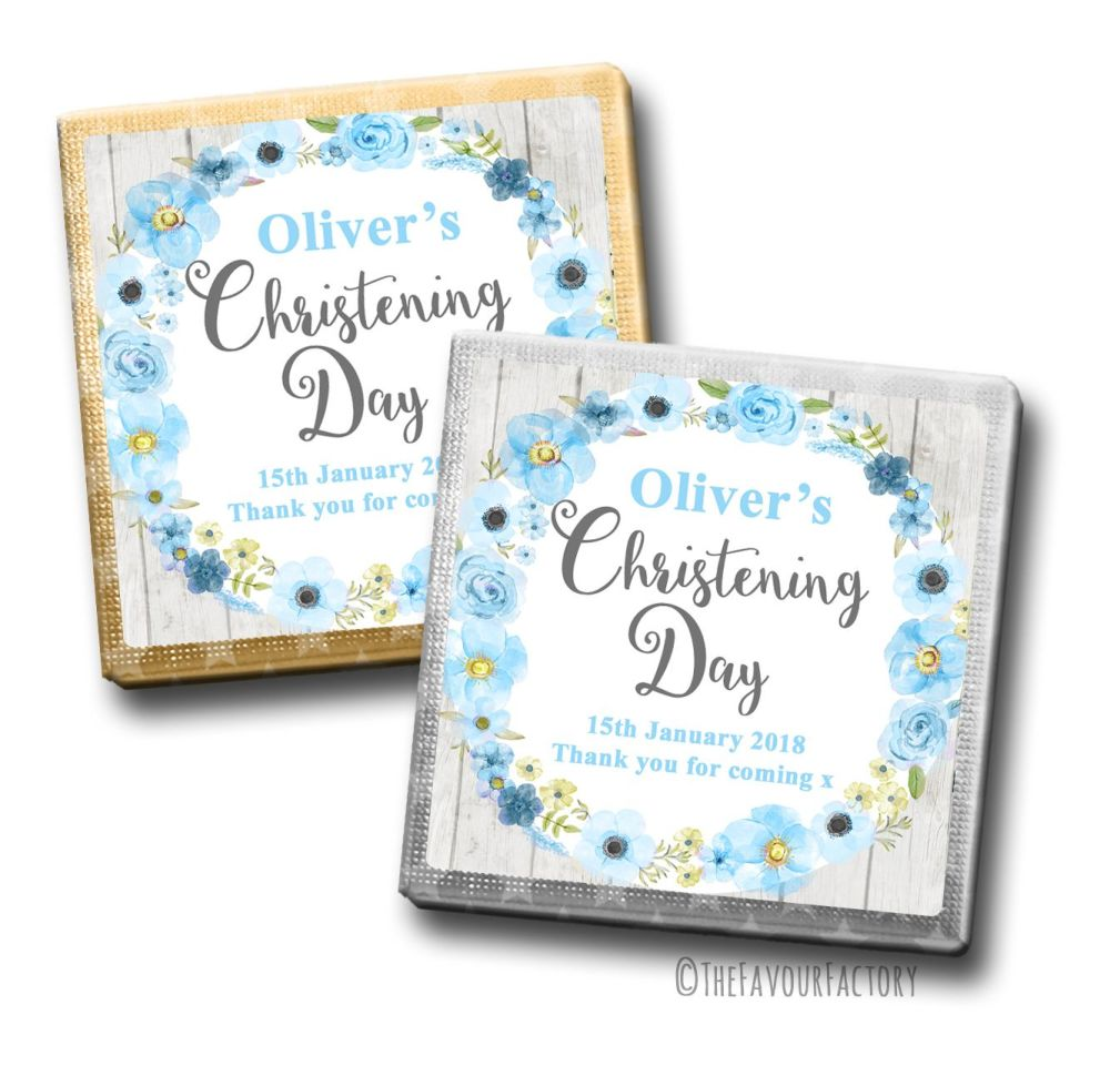 Christening Chocolates Squares Blue Watercolour Flowers x10