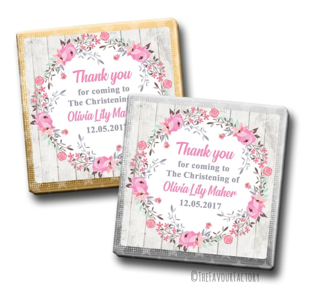 Christening Chocolates Squares Pink Floral Wreath x10