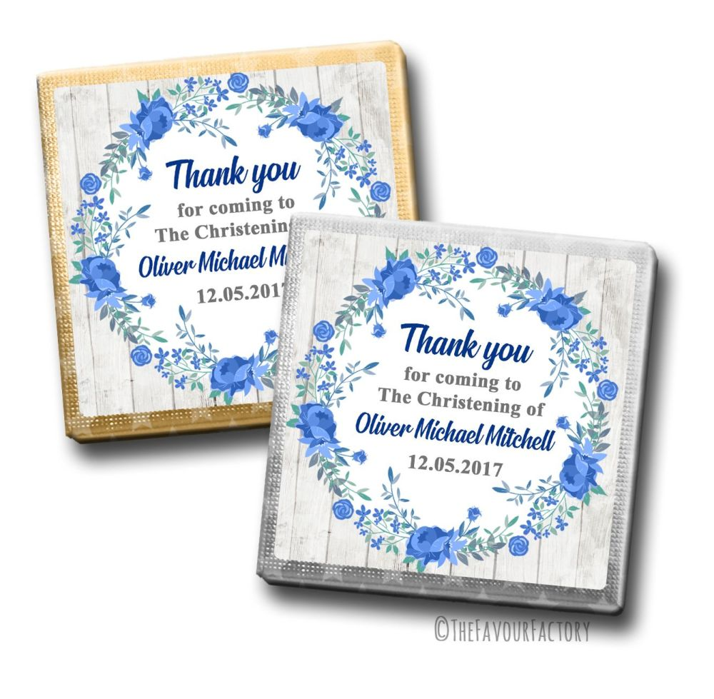 Christening Chocolates Squares Blue Floral Wreath x10