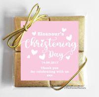 Christening Chocolates Quads Pink Love Hearts x1